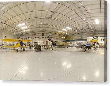 Arizona Wing Of The Commemorative Air Force Hangar March 28 2011 Canvas Print by Brian Lockett