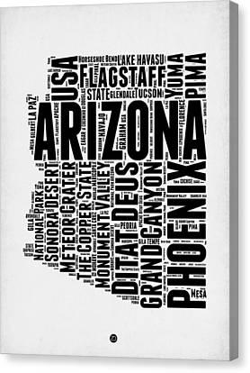 Arizona Word Cloud Map 2 Canvas Print by Naxart Studio