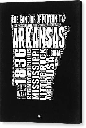 Arkansas Black And White Map Canvas Print by Naxart Studio