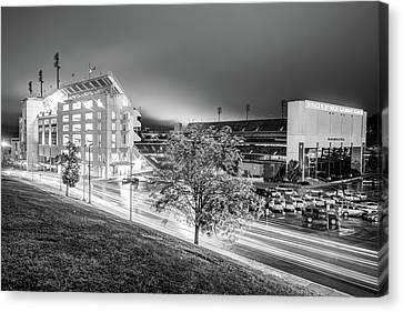 Arkansas Razorback Football Stadium At Night - Fayetteville Arkansas Black And White Canvas Print by Gregory Ballos