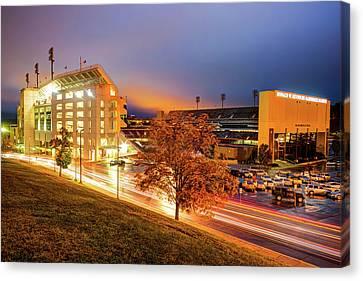 Arkansas Razorback Football Stadium At Night - Fayetteville Arkansas Canvas Print by Gregory Ballos