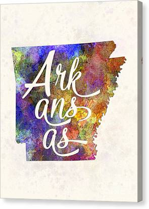 Arkansas Us State In Watercolor Text Cut Out Canvas Print by Pablo Romero