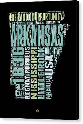 Arkansas Word Cloud 1 Canvas Print by Naxart Studio
