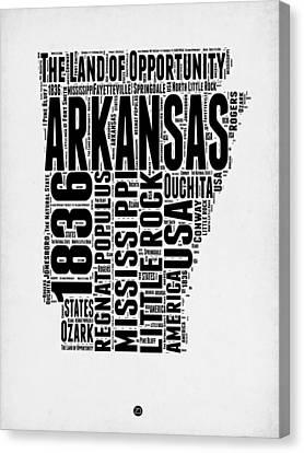 Arkansas Word Cloud 2 Canvas Print by Naxart Studio