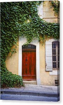 Arles France Door With Vine Dsc01782 Canvas Print by Greg Kluempers