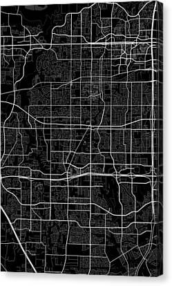 Arlington Texas Usa Dark Map Canvas Print by Jurq Studio