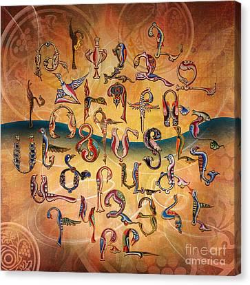 Armenian Birds Alphabet Canvas Print by Bedros Awak