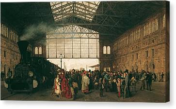 Arrival Of A Train At Vienna Northwest-station Canvas Print by Karl Karger