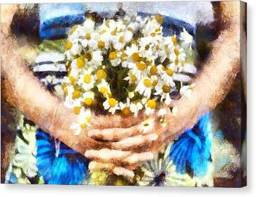 Art Illustration. Watercolor Painting. Beautiful Wedding Bouquet Of Flowers Chamomile In Hands Of Ya Canvas Print by Andrew Stepovoy