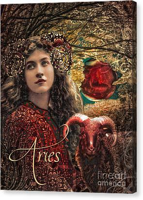 Art Nouveau Zodiac Aries Canvas Print by Mindy Sommers