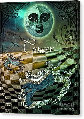Art Nouveau Zodiac Cancer Canvas Print by Mindy Sommers