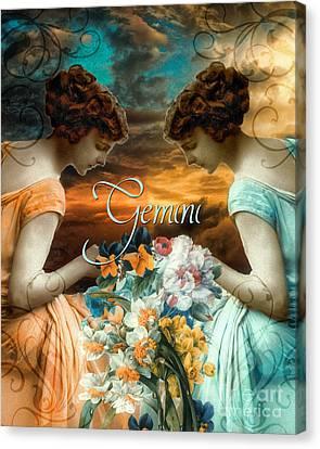 Art Nouveau Zodiac Gemini Canvas Print by Mindy Sommers