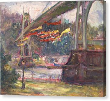 Artful Activism, St Johns Bridge, Original Contemporary Impressionist Oil Painting Canvas Print by Quin Sweetman