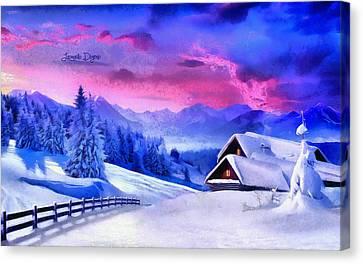 Artic Winter  - Monet Style -  - Da Canvas Print by Leonardo Digenio
