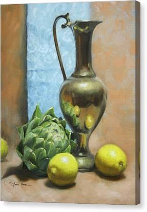 Artichoke And Lemons Canvas Print by Anna Rose Bain