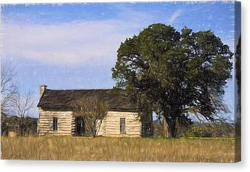 Artistic Texas Log Cabin  Canvas Print by Linda Phelps