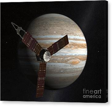 Artists Concept Of The Juno Spacecraft Canvas Print by Stocktrek Images