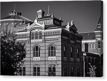 Arts And Industries Building In Black And White Canvas Print by Greg Mimbs