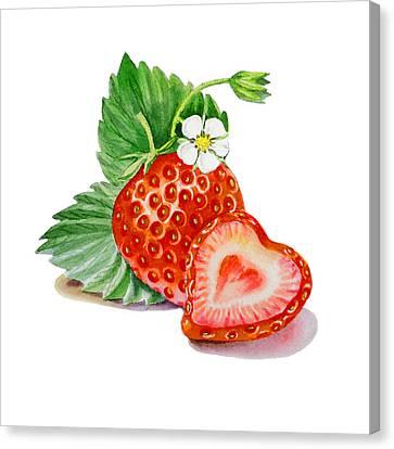 Artz Vitamins A Strawberry Heart Canvas Print by Irina Sztukowski
