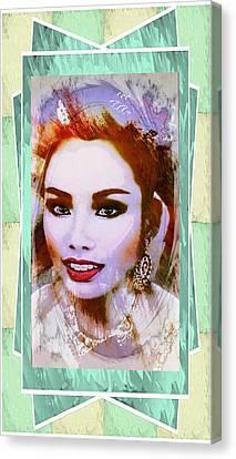 Asian Culture Pop Art Girl Canvas Print by Ian Gledhill