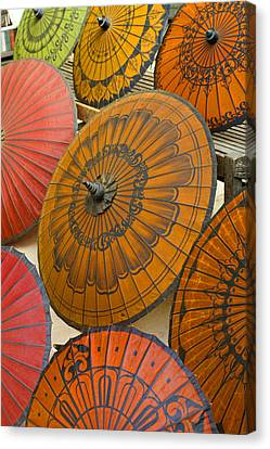 Asian Umbrellas Canvas Print by Michele Burgess