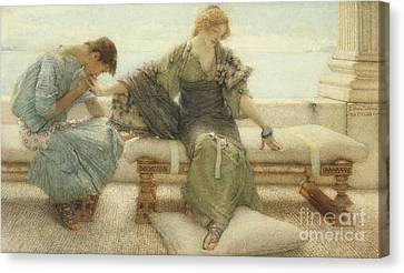 Ask Me No More....for At A Touch I Yield Canvas Print by Sir Lawrence Alma-Tadema
