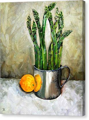 Asparagus In A Sterling Cup Canvas Print by Amy Higgins