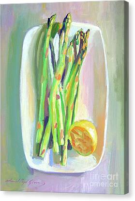 Asparagus Plate Canvas Print by David Lloyd Glover