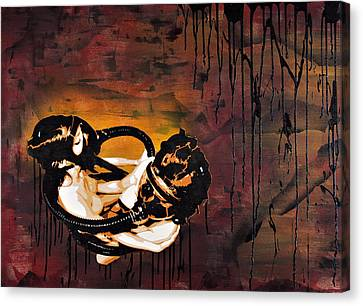 Asphyxiation By Oil Dependency Canvas Print by Tai Taeoalii