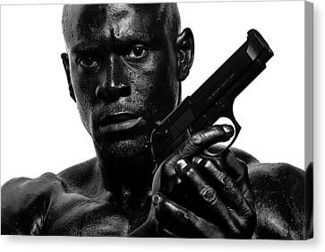 Assassin In Black And White Canvas Print by Val Black Russian Tourchin