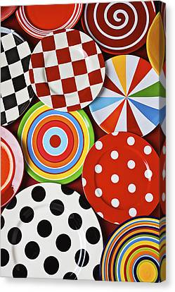 Assorted Colorful Plates Canvas Print by Garry Gay