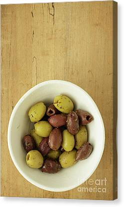Assorted Greek Olives  Canvas Print by Edward Fielding