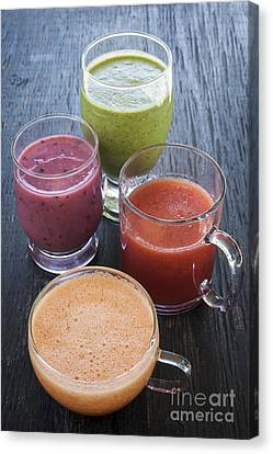 Assorted Smoothies Canvas Print by Elena Elisseeva