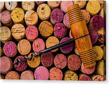 Assorted Wine Corks And Corkscrew Canvas Print by Garry Gay