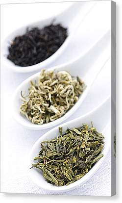 Assortment Of Dry Tea Leaves In Spoons Canvas Print by Elena Elisseeva