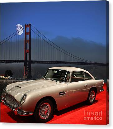 Aston Martin Db5 Under The Golden Gate Moon Canvas Print by Wingsdomain Art and Photography