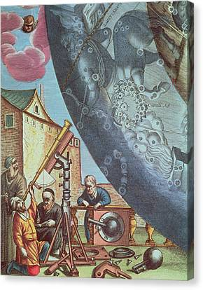 Astronomers Looking Through A Telescope Canvas Print by Andreas Cellarius