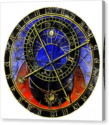 Astronomical Clock In Grunge Style Canvas Print by Michal Boubin