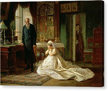 At The Altar Canvas Print by Firs Sergeevich Zhuravlev