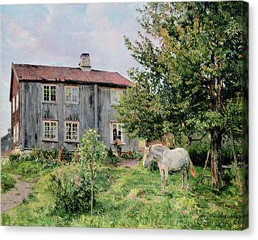 At The Farm Canvas Print by Gerhard Peter Frantz Vilhelm Munthe