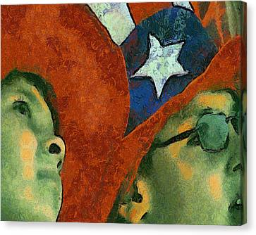At The Fireworks Canvas Print by Elaine Frink