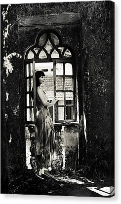 At The Gothic Window. Old Margao. Goa. India Canvas Print by Jenny Rainbow