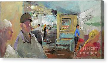 At The Restaurant Canvas Print by Becky Kim