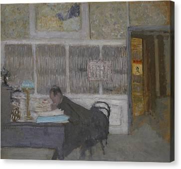 At The Revue Blanche Canvas Print by Edouard Vuillard