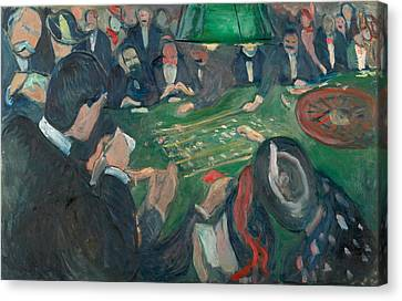 At The Roulette Table In Monte Carlo Canvas Print by Edvard Munch
