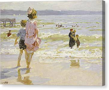 At The Seashore Canvas Print by Edward Henry Potthast