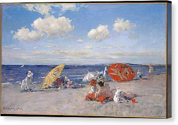 At The Seaside Canvas Print by William Merritt