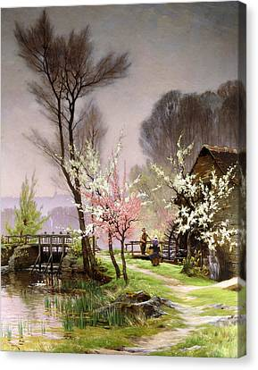 At The Watermill   Spring Canvas Print by Henri Saintain
