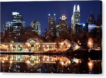 Atlanta From Piedmont Park 2 Canvas Print by Frozen in Time Fine Art Photography