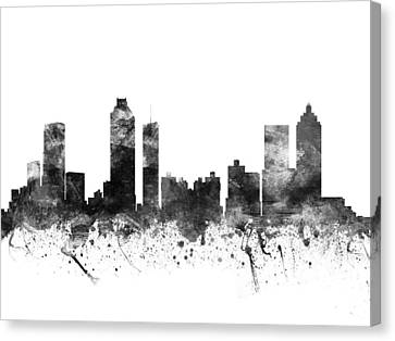 Atlanta Georgia Cityscape 02bw Canvas Print by Aged Pixel